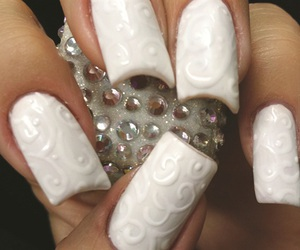 white, nails, and art image