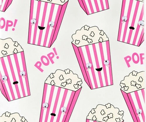 wallpaper, popcorn, and pink image