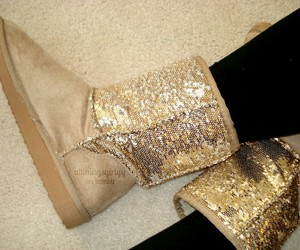 fashion, gold, and boots image