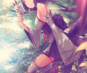 anime, anime girl, and kitsune image