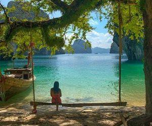 beach, girl, and swing image
