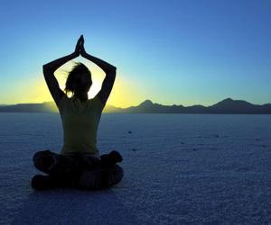 yoga, meditation, and sunset image