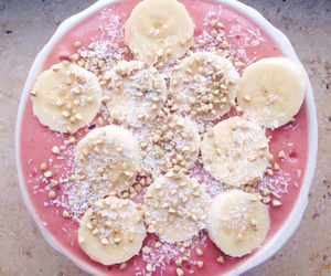 food, banana, and pink image