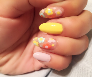 colorful nails, easter, and flowers image