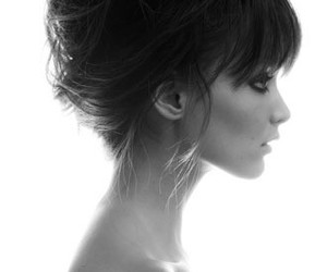 hair, black and white, and hairstyle image