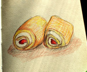 art, colored pencils, and dessert image