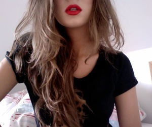 girl, webcam, and lipstick image