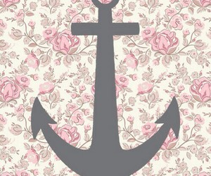 anchor, flowers, and pink image