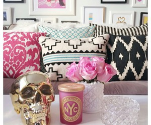 pink roses, white vase, and pink candles image