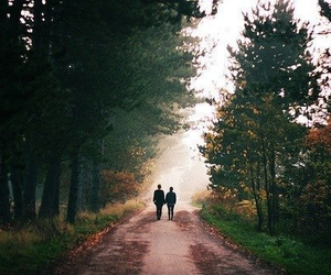 forest, nature, and couple image