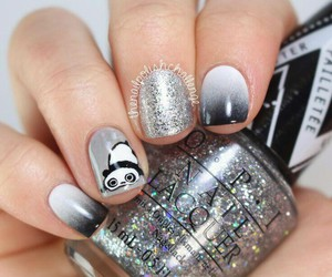 nails, panda, and grey image