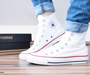 converse, feet, and jeans image