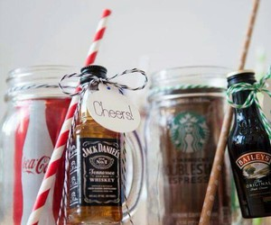jack daniels, wedding favors, and Baileys image