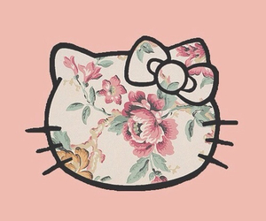hello kitty, pink, and flowers image