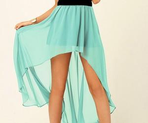 asymetric, chiffon, and skirt image