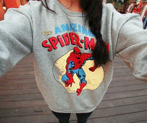 girl, spiderman, and sweater image