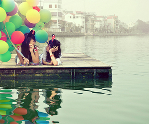 balloons, girl, and friends image