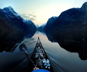 nature, kayak, and mountains image