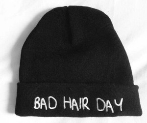 bad hair day, beanie, and black image