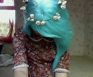 blue hair, girl, and flowers image