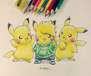 pokemon, drawing, and pikachu image