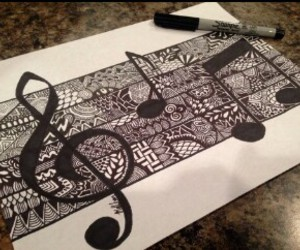 drawing, art, and music image