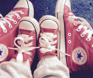matching shoes, red, and copy cat image