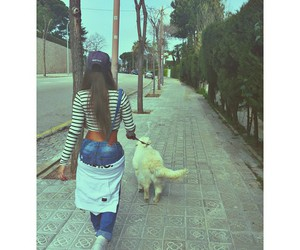 dog, girl, and long hair image