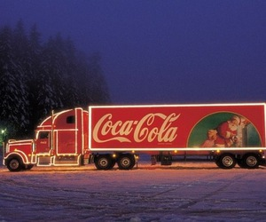 coca cola, christmas, and snow image