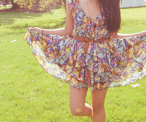 dress, girl, and floral image