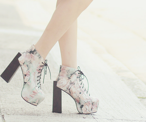 shoes, floral, and heels image