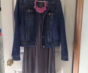 dress, preppy, and statement necklace image