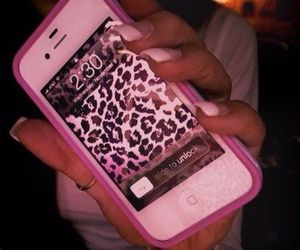 iphone, pink, and leopard image