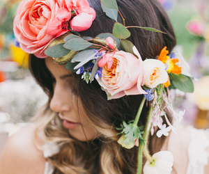 hair, flowers, and beautiful image