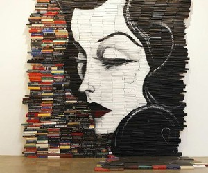 art, books, and face image