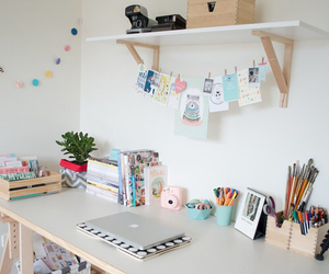 room, desk, and decoration image