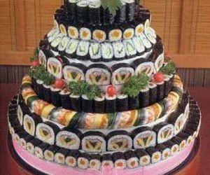 art, cake, and sushi image