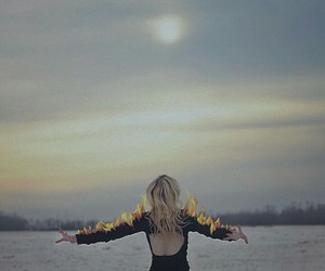 black, fire, and grunge image