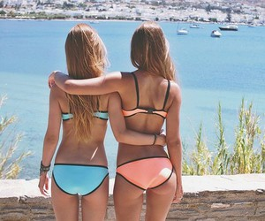 beach, rosy, and best friends image