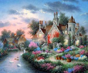 colorful, landscape, and pintura image