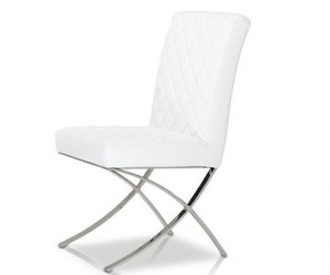 dining chair, modern chair, and white leather chair image