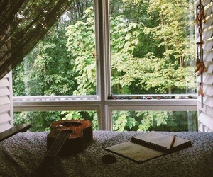 guitar, window, and notebook image
