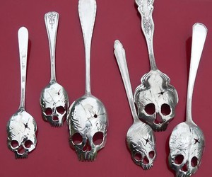 skull, spoon, and silver image