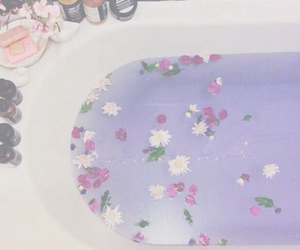 bath, flowers, and pastel image