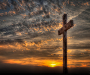 cross, easter, and sunset image