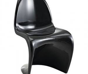 black chair, slither side chair, and dining chair image
