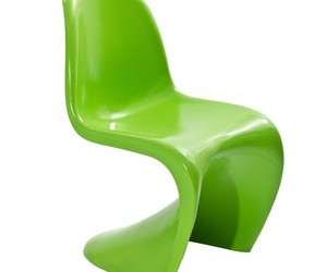 green chair, dining chair, and slither side chair image