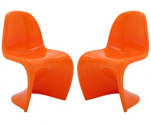 dining chairs, slither side chairs, and orange chairs image