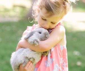 girl, rabbit, and cute image
