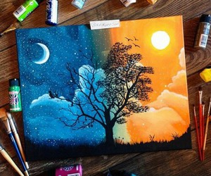 art, night, and drawing image